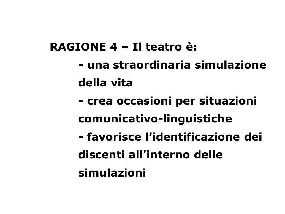 RAGIONE 4 – Il teatro è: - una straordinaria simulazione della vita - crea occasioni per situazioni comunicativo-linguistiche - favorisce lidentificaz