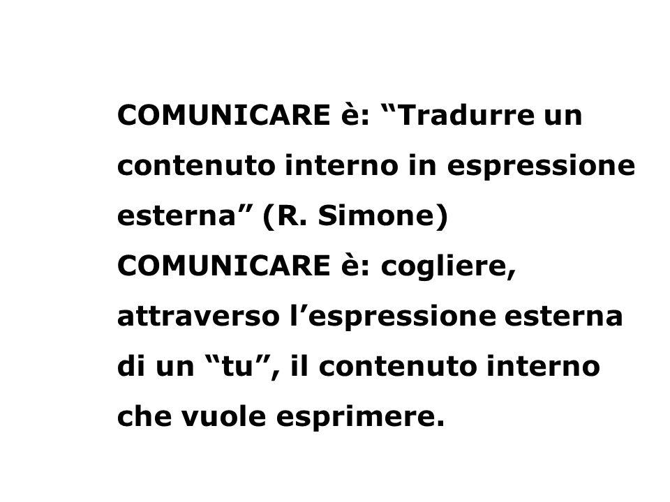 COMUNICARE è: Tradurre un contenuto interno in espressione esterna (R. Simone) COMUNICARE è: cogliere, attraverso lespressione esterna di un tu, il co