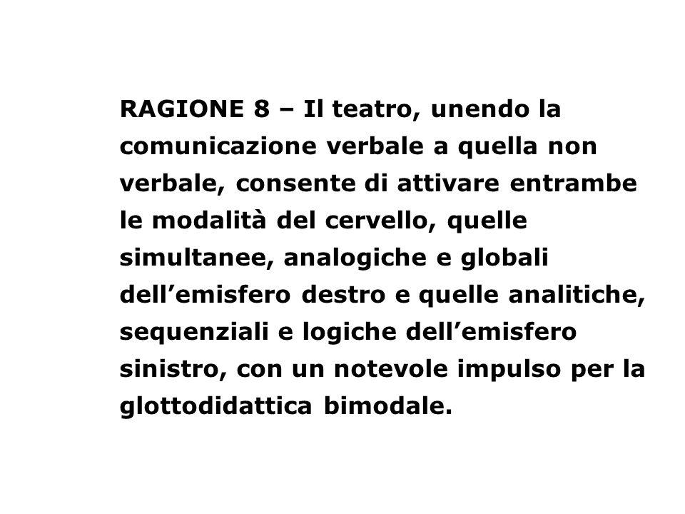 RAGIONE 8 – Il teatro, unendo la comunicazione verbale a quella non verbale, consente di attivare entrambe le modalità del cervello, quelle simultanee