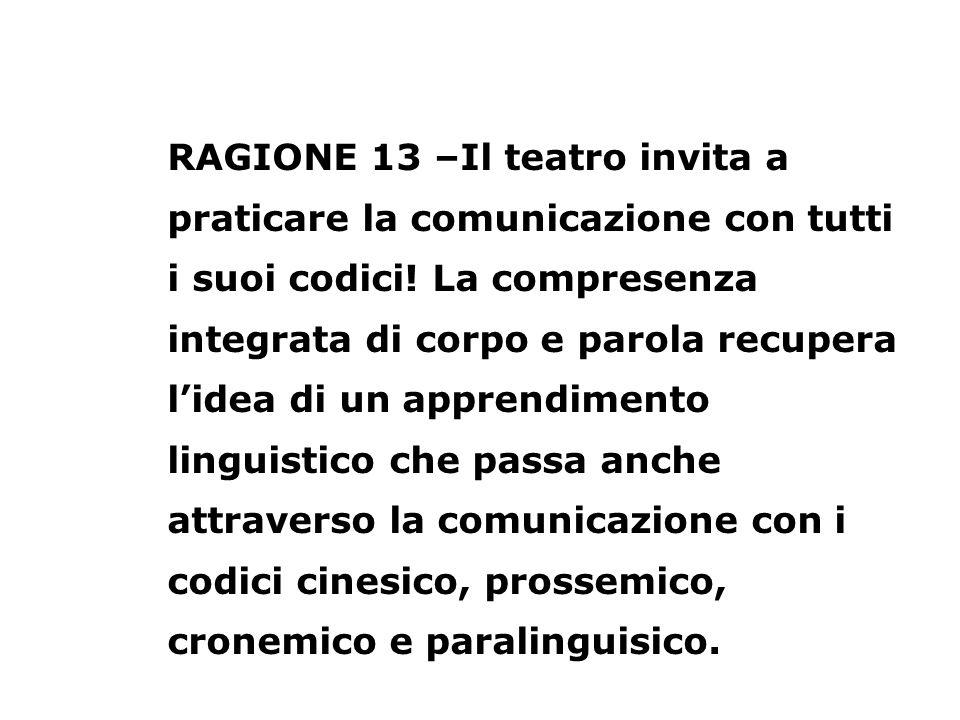 RAGIONE 13 –Il teatro invita a praticare la comunicazione con tutti i suoi codici! La compresenza integrata di corpo e parola recupera lidea di un app