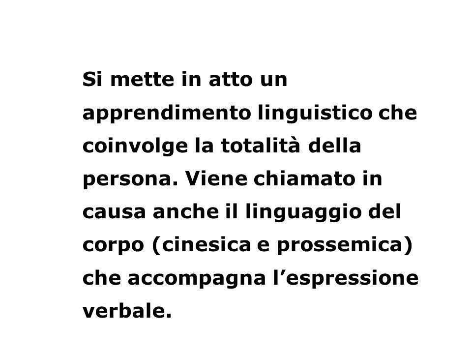 Si mette in atto un apprendimento linguistico che coinvolge la totalità della persona. Viene chiamato in causa anche il linguaggio del corpo (cinesica