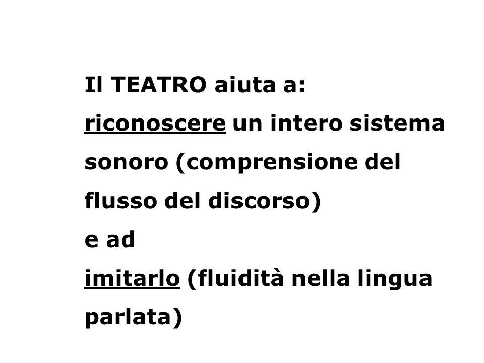 Il TEATRO aiuta a: riconoscere un intero sistema sonoro (comprensione del flusso del discorso) e ad imitarlo (fluidità nella lingua parlata)