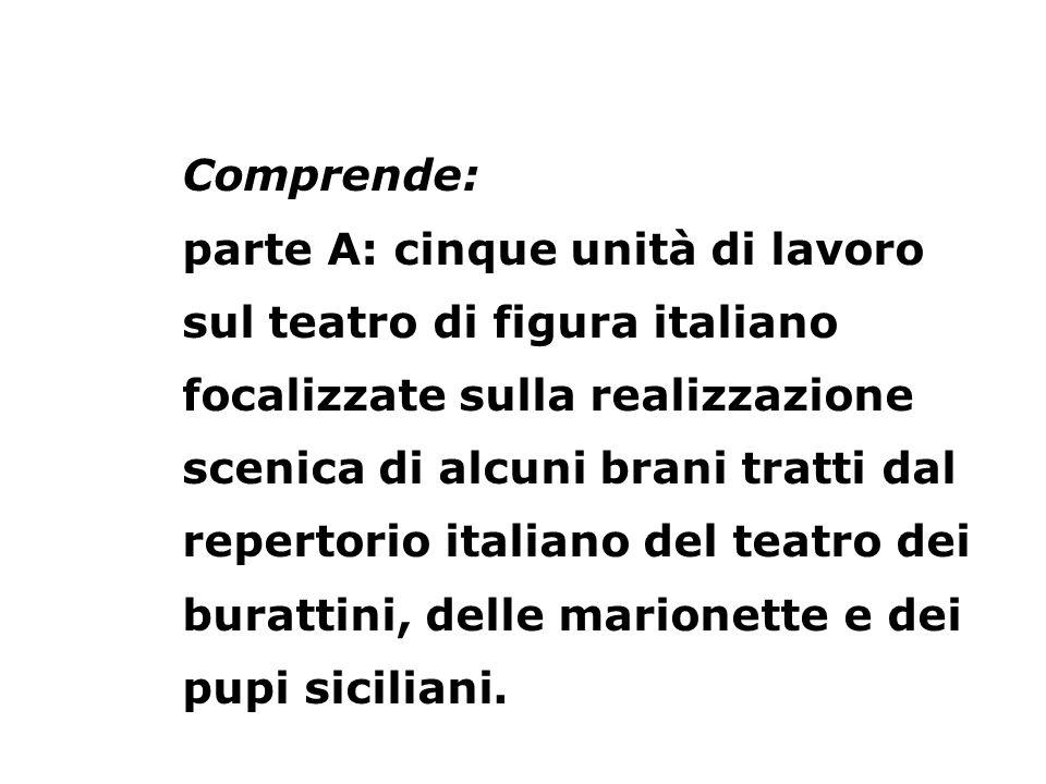 Comprende: parte A: cinque unità di lavoro sul teatro di figura italiano focalizzate sulla realizzazione scenica di alcuni brani tratti dal repertorio