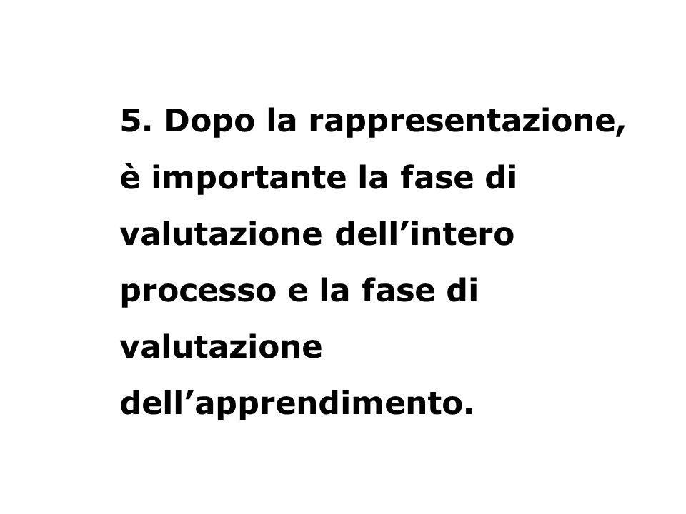 5. Dopo la rappresentazione, è importante la fase di valutazione dellintero processo e la fase di valutazione dellapprendimento.