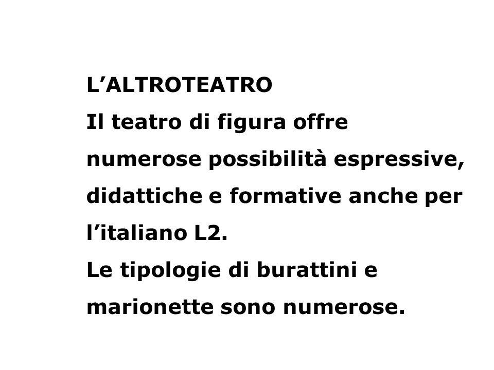 LALTROTEATRO Il teatro di figura offre numerose possibilità espressive, didattiche e formative anche per litaliano L2. Le tipologie di burattini e mar