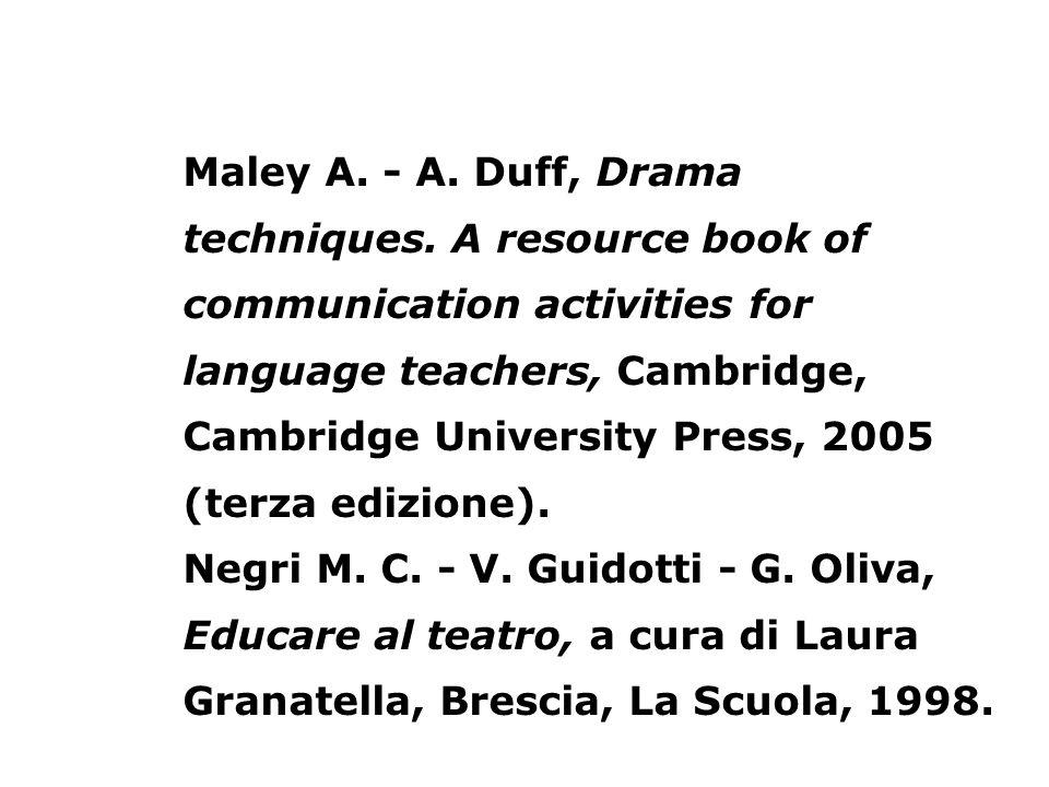 Maley A. - A. Duff, Drama techniques. A resource book of communication activities for language teachers, Cambridge, Cambridge University Press, 2005 (