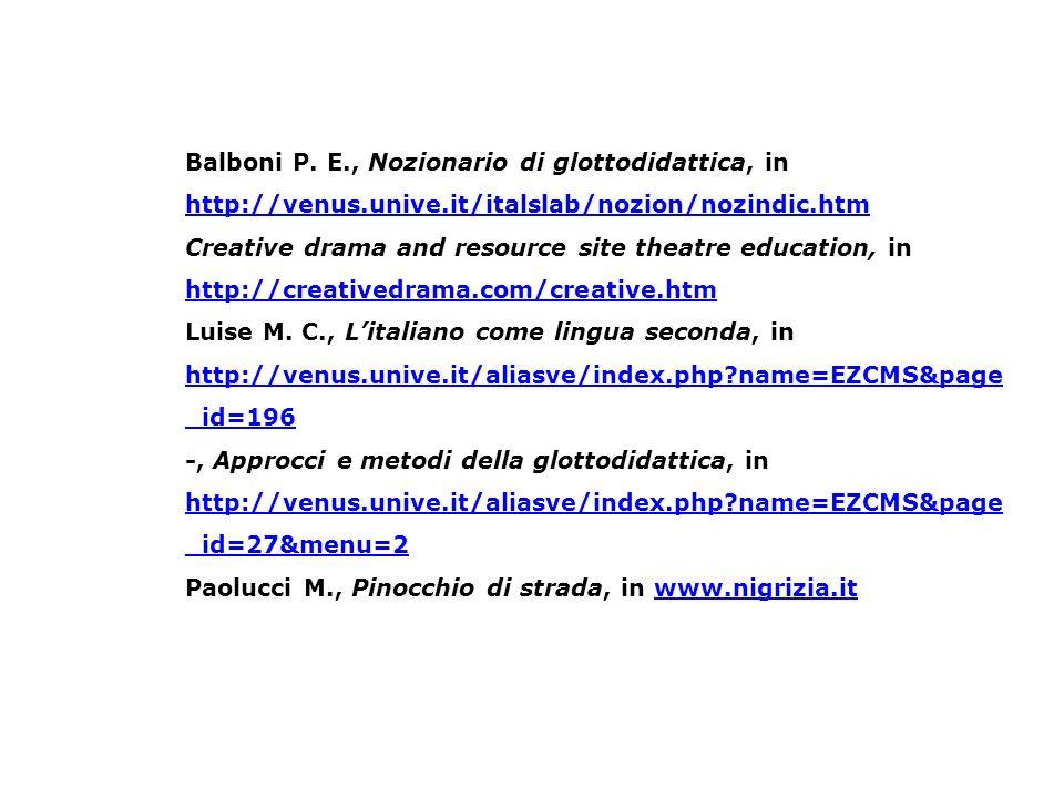 Balboni P. E., Nozionario di glottodidattica, in http://venus.unive.it/italslab/nozion/nozindic.htm http://venus.unive.it/italslab/nozion/nozindic.htm