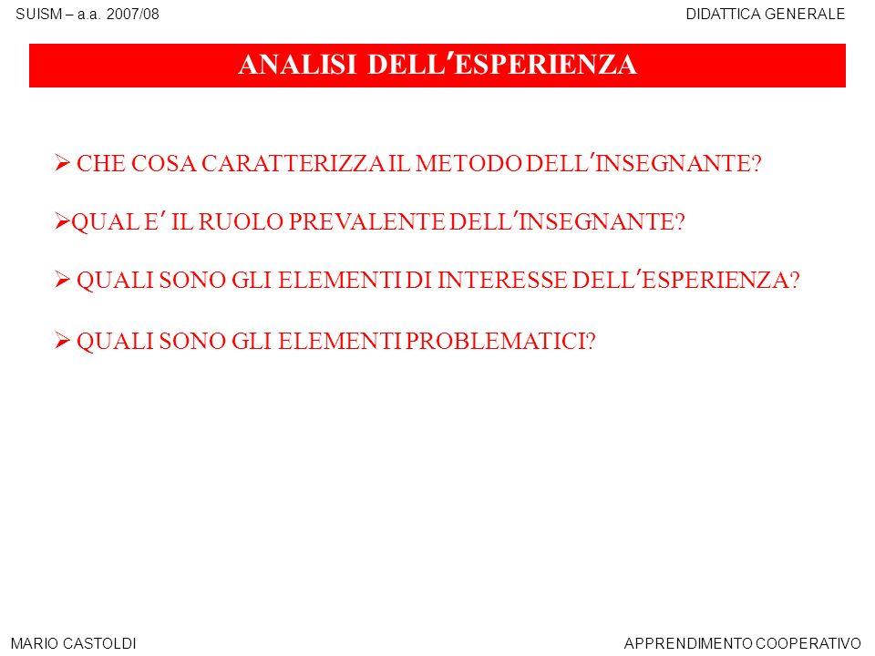 SUISM – a.a. 2007/08DIDATTICA GENERALE MARIO CASTOLDIAPPRENDIMENTO COOPERATIVO ANALISI DELLESPERIENZA CHE COSA CARATTERIZZA IL METODO DELLINSEGNANTE?