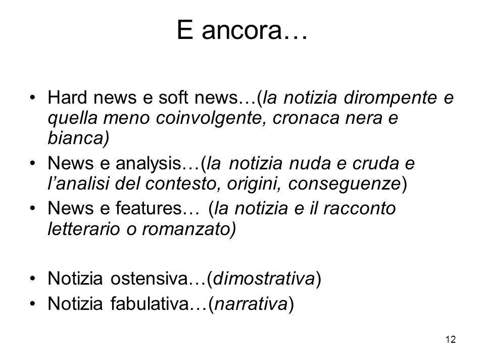 12 E ancora… Hard news e soft news…(la notizia dirompente e quella meno coinvolgente, cronaca nera e bianca) News e analysis…(la notizia nuda e cruda