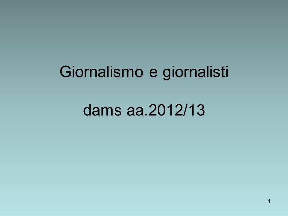 1 Giornalismo e giornalisti dams aa.2012/13