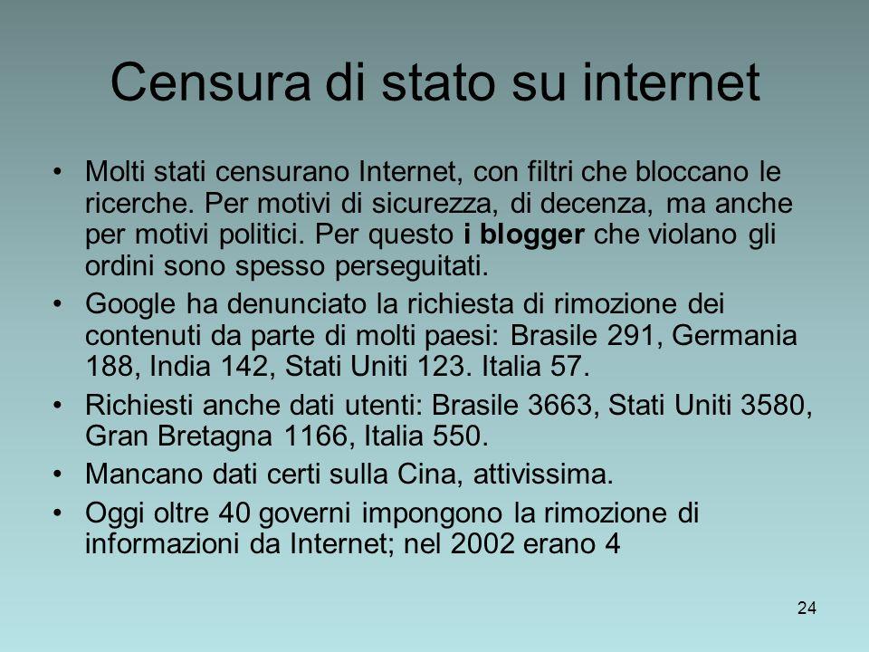 24 Censura di stato su internet Molti stati censurano Internet, con filtri che bloccano le ricerche.