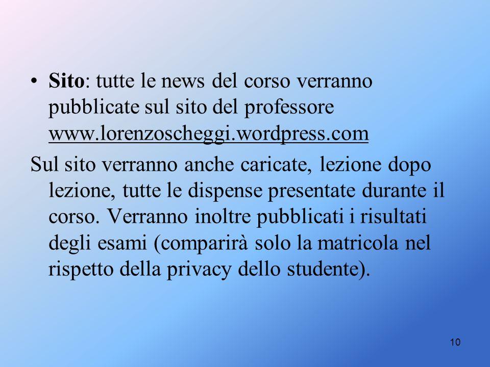 Sito: tutte le news del corso verranno pubblicate sul sito del professore www.lorenzoscheggi.wordpress.com Sul sito verranno anche caricate, lezione d