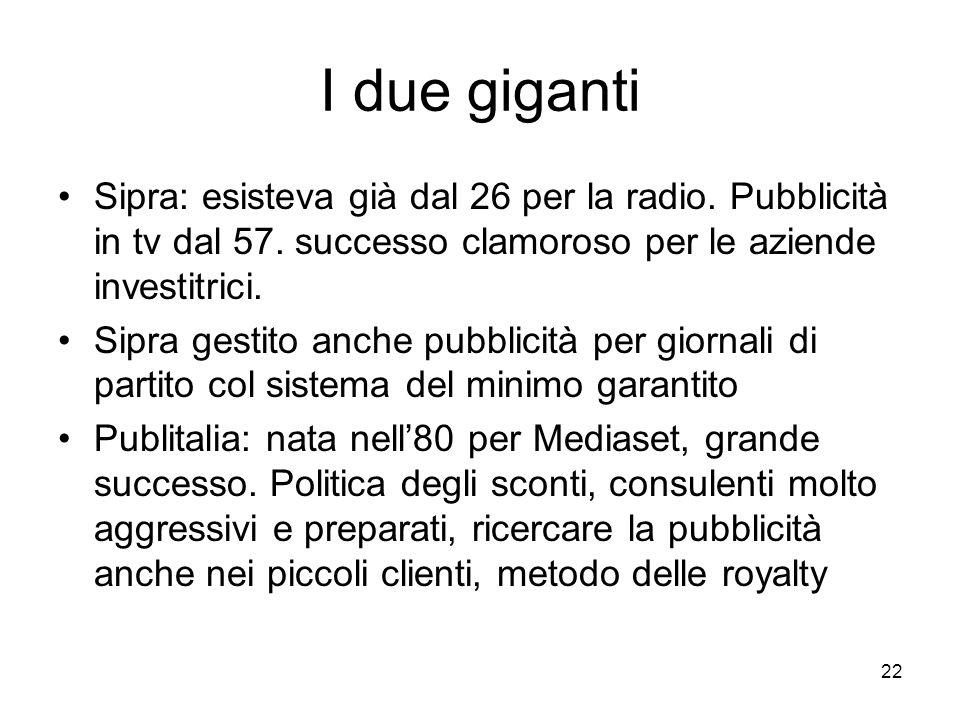 22 I due giganti Sipra: esisteva già dal 26 per la radio. Pubblicità in tv dal 57. successo clamoroso per le aziende investitrici. Sipra gestito anche