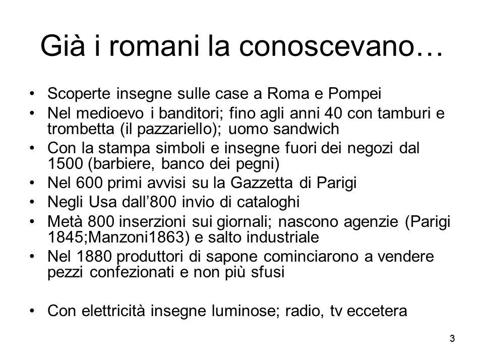 33 Già i romani la conoscevano… Scoperte insegne sulle case a Roma e Pompei Nel medioevo i banditori; fino agli anni 40 con tamburi e trombetta (il pa