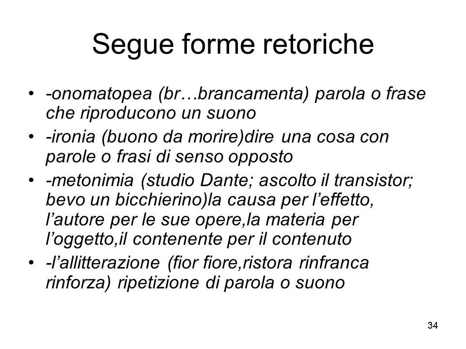 34 Segue forme retoriche -onomatopea (br…brancamenta) parola o frase che riproducono un suono -ironia (buono da morire)dire una cosa con parole o fras
