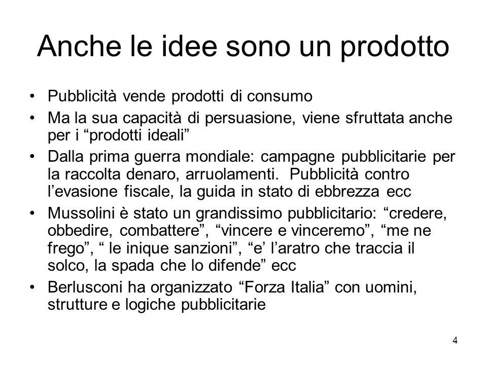 4 Anche le idee sono un prodotto Pubblicità vende prodotti di consumo Ma la sua capacità di persuasione, viene sfruttata anche per i prodotti ideali D