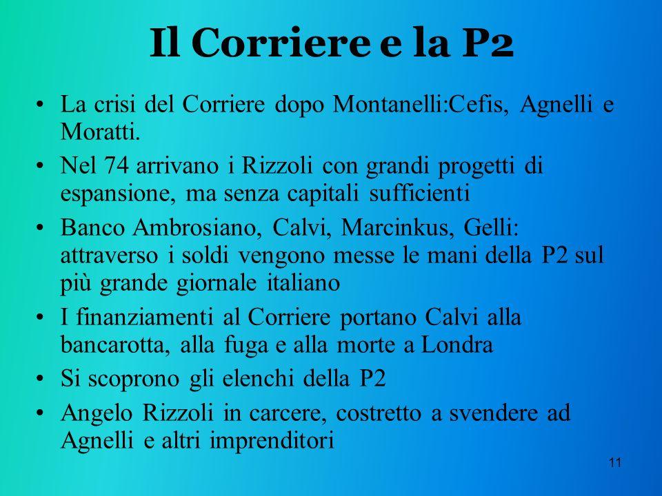 11 Il Corriere e la P2 La crisi del Corriere dopo Montanelli:Cefis, Agnelli e Moratti.