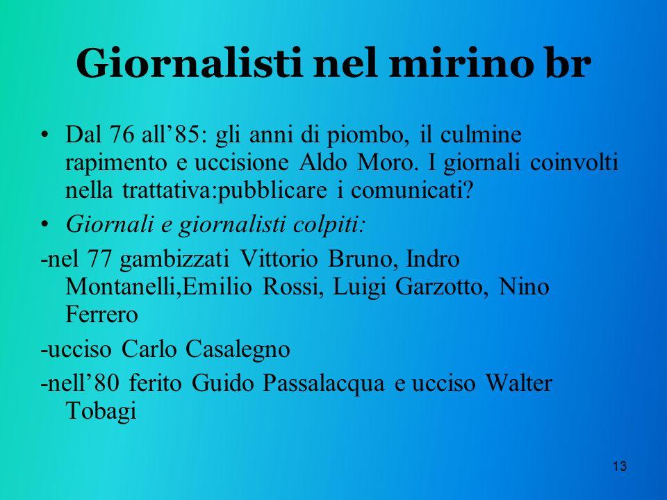 13 Giornalisti nel mirino br Dal 76 all85: gli anni di piombo, il culmine rapimento e uccisione Aldo Moro.