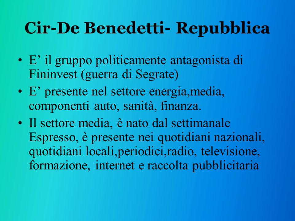 Cir-De Benedetti- Repubblica E il gruppo politicamente antagonista di Fininvest (guerra di Segrate) E presente nel settore energia,media, componenti auto, sanità, finanza.