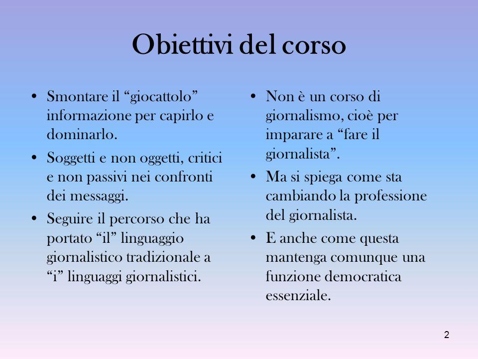 3 I punti cardinali del corso 1.la materia prima di cui si occupa il giornalismo: le notizie 2.