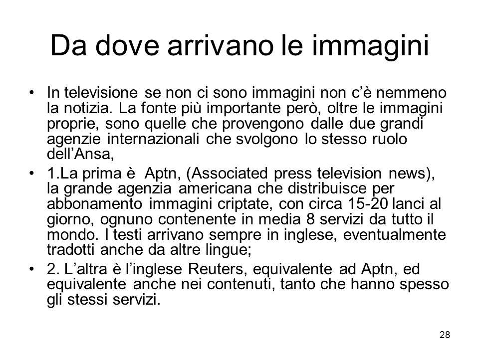 28 Da dove arrivano le immagini In televisione se non ci sono immagini non cè nemmeno la notizia. La fonte più importante però, oltre le immagini prop