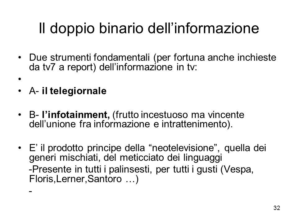 32 Il doppio binario dellinformazione Due strumenti fondamentali (per fortuna anche inchieste da tv7 a report) dellinformazione in tv: A- il telegiorn