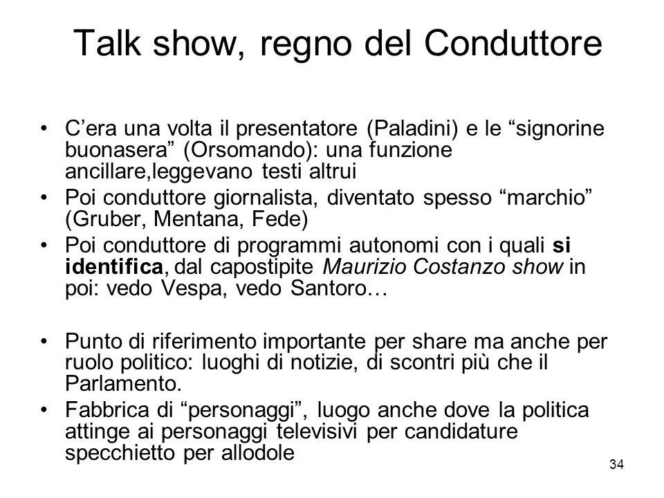34 Talk show, regno del Conduttore Cera una volta il presentatore (Paladini) e le signorine buonasera (Orsomando): una funzione ancillare,leggevano te