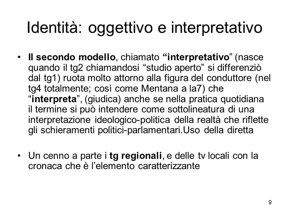 9 Identità: oggettivo e interpretativo Il secondo modello, chiamato interpretativo (nasce quando il tg2 chiamandosi studio aperto si differenziò dal t
