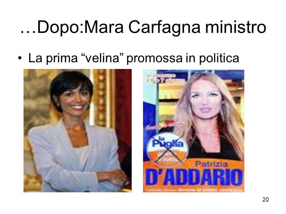 20 …Dopo:Mara Carfagna ministro La prima velina promossa in politica