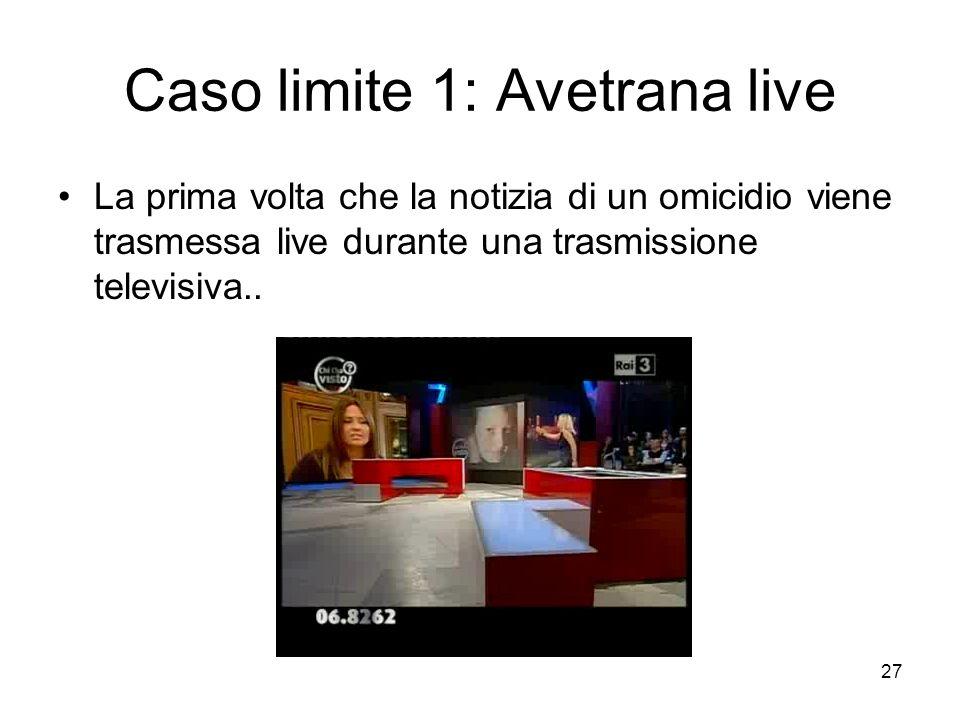 27 Caso limite 1: Avetrana live La prima volta che la notizia di un omicidio viene trasmessa live durante una trasmissione televisiva..