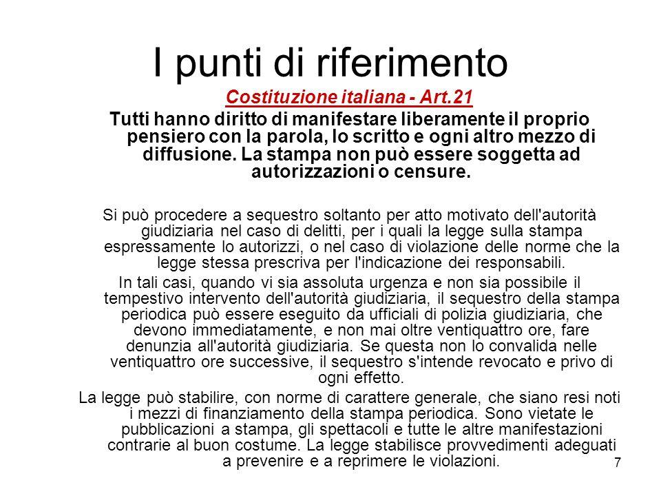 7 I punti di riferimento Costituzione italiana - Art.21 Tutti hanno diritto di manifestare liberamente il proprio pensiero con la parola, lo scritto e ogni altro mezzo di diffusione.