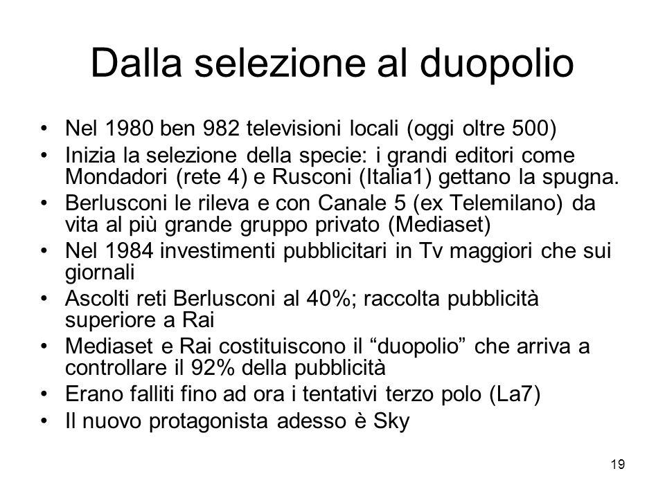 19 Dalla selezione al duopolio Nel 1980 ben 982 televisioni locali (oggi oltre 500) Inizia la selezione della specie: i grandi editori come Mondadori (rete 4) e Rusconi (Italia1) gettano la spugna.