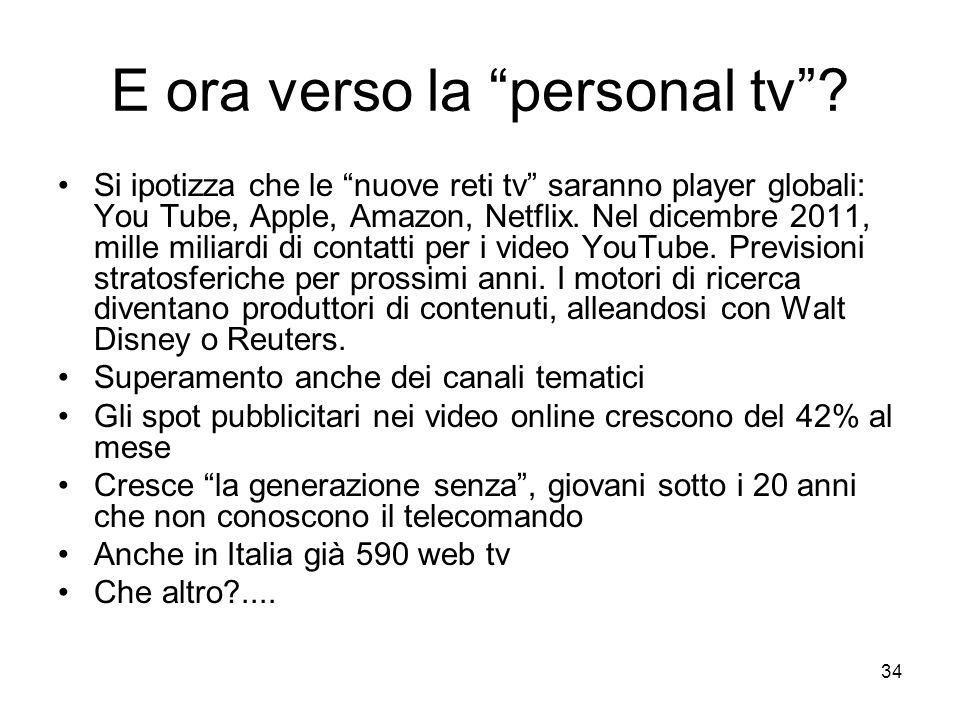 34 E ora verso la personal tv? Si ipotizza che le nuove reti tv saranno player globali: You Tube, Apple, Amazon, Netflix. Nel dicembre 2011, mille mil