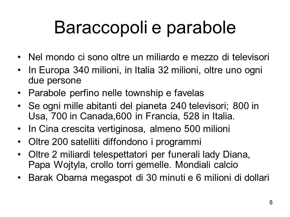6 Baraccopoli e parabole Nel mondo ci sono oltre un miliardo e mezzo di televisori In Europa 340 milioni, in Italia 32 milioni, oltre uno ogni due persone Parabole perfino nelle township e favelas Se ogni mille abitanti del pianeta 240 televisori; 800 in Usa, 700 in Canada,600 in Francia, 528 in Italia.