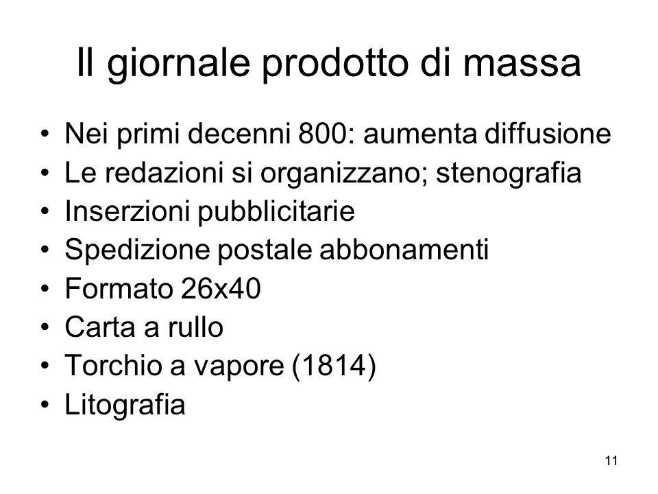 11 Il giornale prodotto di massa Nei primi decenni 800: aumenta diffusione Le redazioni si organizzano; stenografia Inserzioni pubblicitarie Spedizion