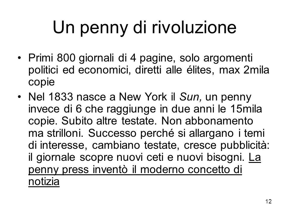 12 Un penny di rivoluzione Primi 800 giornali di 4 pagine, solo argomenti politici ed economici, diretti alle élites, max 2mila copie Nel 1833 nasce a New York il Sun, un penny invece di 6 che raggiunge in due anni le 15mila copie.