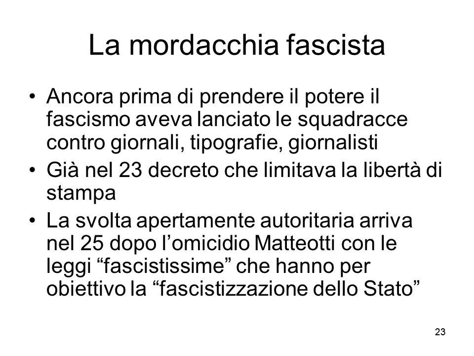 23 La mordacchia fascista Ancora prima di prendere il potere il fascismo aveva lanciato le squadracce contro giornali, tipografie, giornalisti Già nel