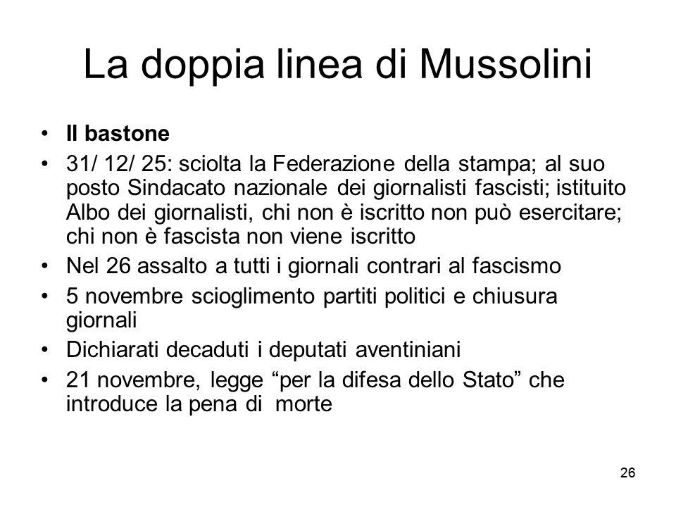 26 La doppia linea di Mussolini Il bastone 31/ 12/ 25: sciolta la Federazione della stampa; al suo posto Sindacato nazionale dei giornalisti fascisti;