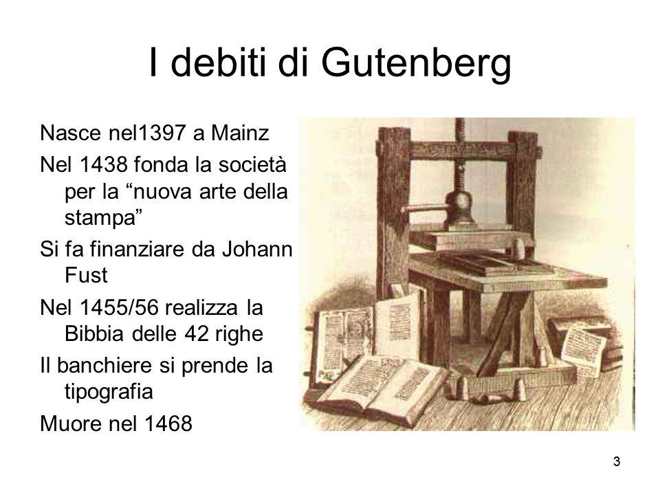 33 I debiti di Gutenberg Nasce nel1397 a Mainz Nel 1438 fonda la società per la nuova arte della stampa Si fa finanziare da Johann Fust Nel 1455/56 re