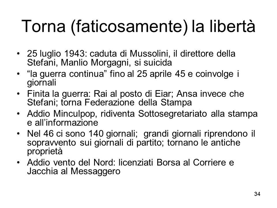 34 Torna (faticosamente) la libertà 25 luglio 1943: caduta di Mussolini, il direttore della Stefani, Manlio Morgagni, si suicida la guerra continua fi