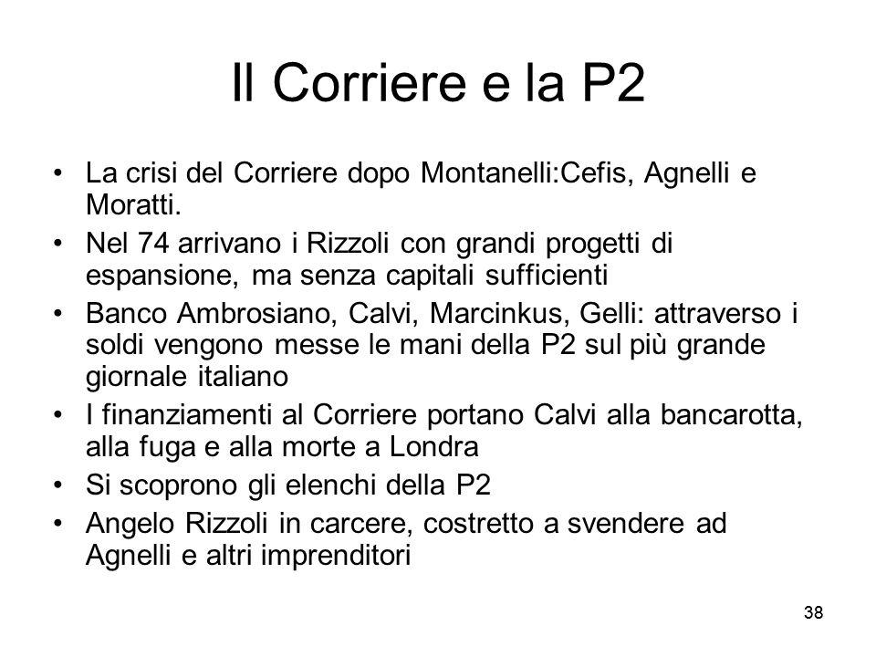 38 Il Corriere e la P2 La crisi del Corriere dopo Montanelli:Cefis, Agnelli e Moratti. Nel 74 arrivano i Rizzoli con grandi progetti di espansione, ma