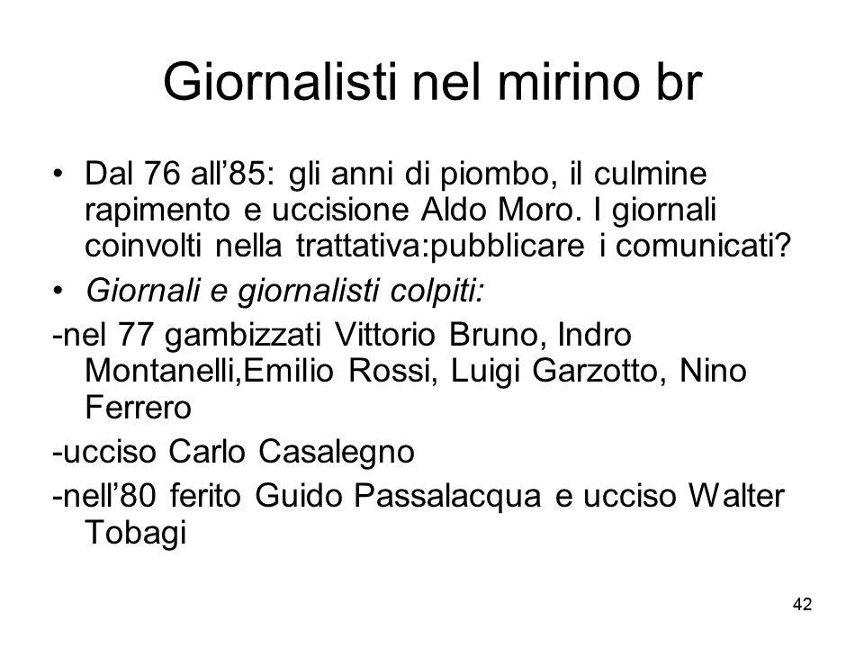 42 Giornalisti nel mirino br Dal 76 all85: gli anni di piombo, il culmine rapimento e uccisione Aldo Moro.