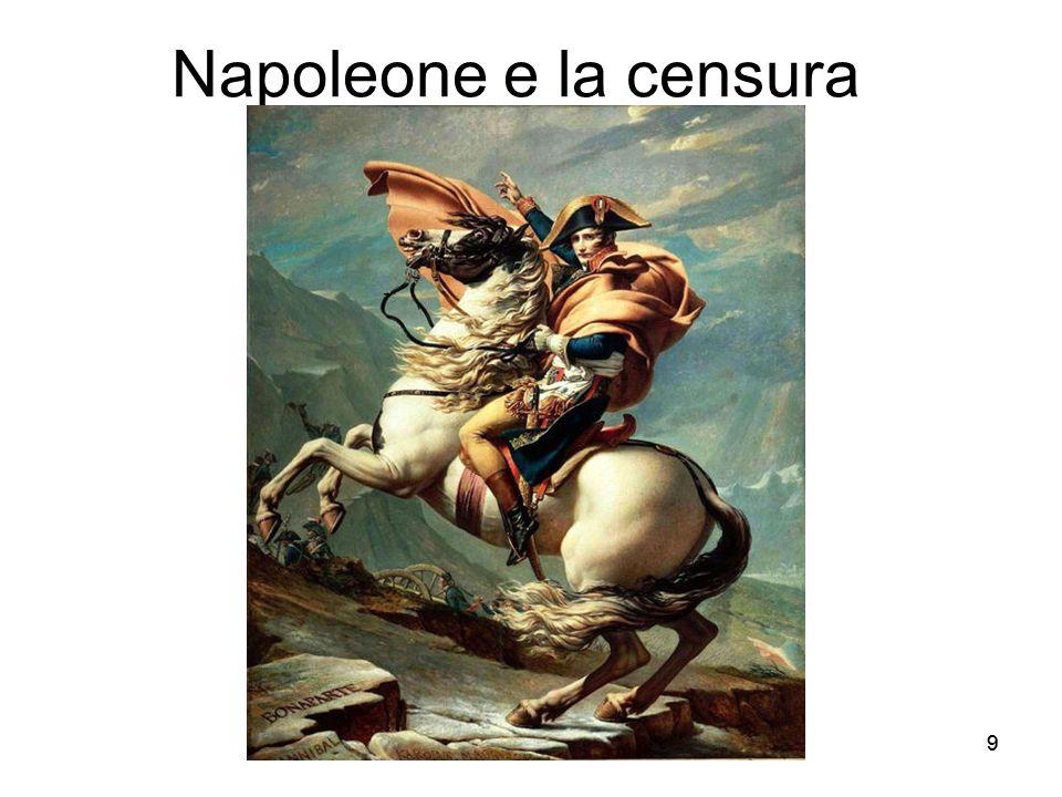 10 Da rivoluzionario a Imperatore Napoleone arriva in Italia (Milano 15 maggio 1796) da difensore della Rivoluzione Resta 3 anni e favorisce la nascita di giornali rivoluzionari Nel 99, Restaurazione, Napoleone torna in Francia 14 giugno 1800, batte gli austriaci a Marengo e rientra da Console 1803:instaurazione della censura preventiva