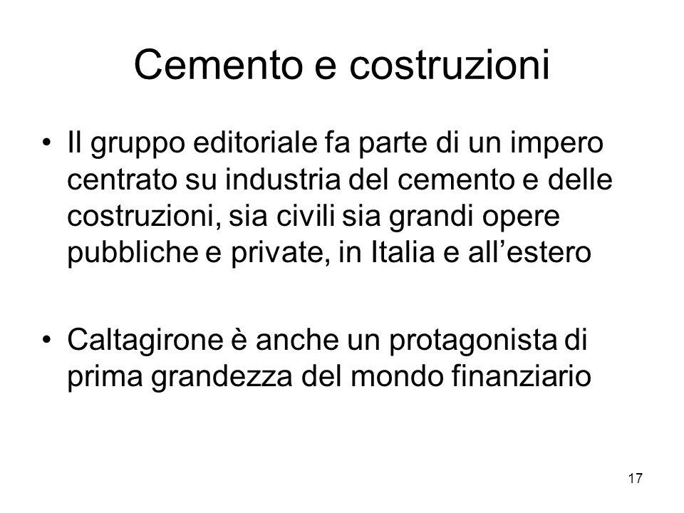 17 Cemento e costruzioni Il gruppo editoriale fa parte di un impero centrato su industria del cemento e delle costruzioni, sia civili sia grandi opere