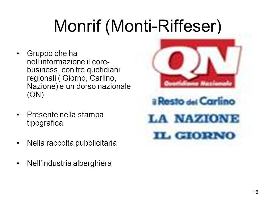 18 Monrif (Monti-Riffeser) Gruppo che ha nellinformazione il core- business, con tre quotidiani regionali ( Giorno, Carlino, Nazione) e un dorso nazio