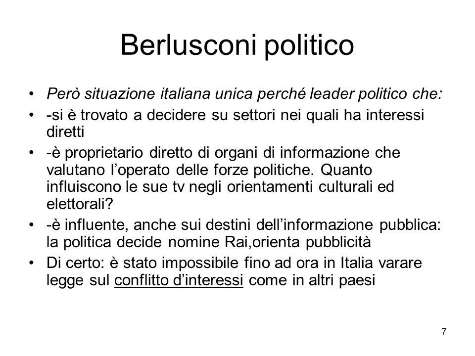 7 Berlusconi politico Però situazione italiana unica perché leader politico che: -si è trovato a decidere su settori nei quali ha interessi diretti -è proprietario diretto di organi di informazione che valutano loperato delle forze politiche.
