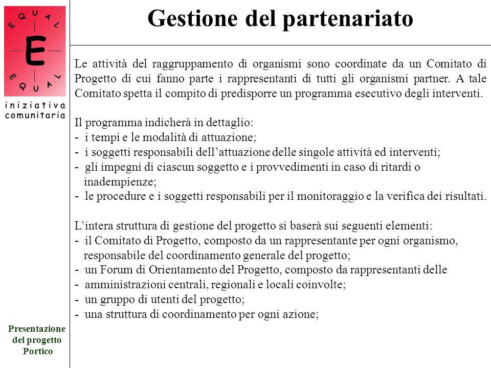 Presentazione del progetto Portico Gestione del partenariato Le attività del raggruppamento di organismi sono coordinate da un Comitato di Progetto di cui fanno parte i rappresentanti di tutti gli organismi partner.