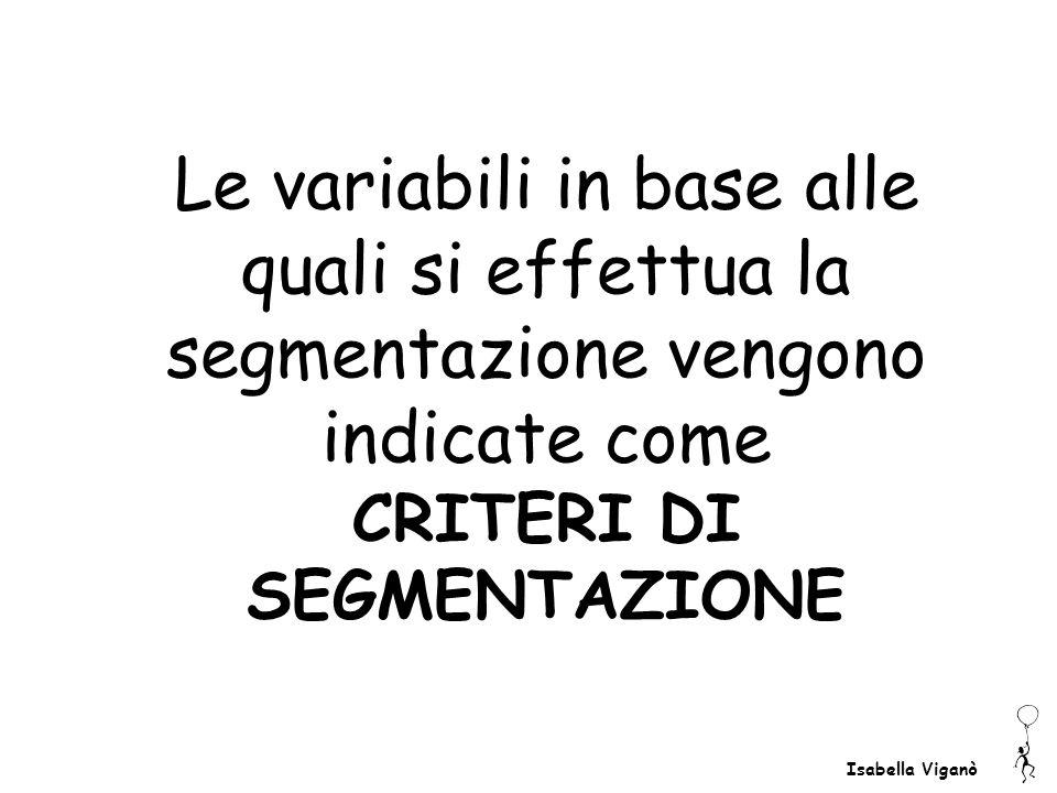 Isabella Viganò Le variabili in base alle quali si effettua la segmentazione vengono indicate come CRITERI DI SEGMENTAZIONE