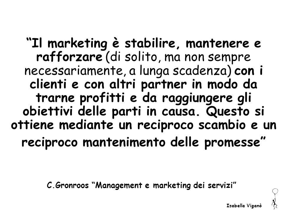 Isabella Viganò Il marketing è stabilire, mantenere e rafforzare (di solito, ma non sempre necessariamente, a lunga scadenza) con i clienti e con altr