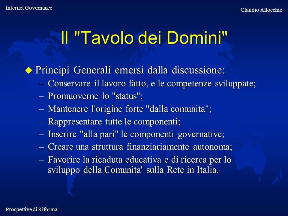 Internet Governance Claudio Allocchio Prospettive di Riforma Il